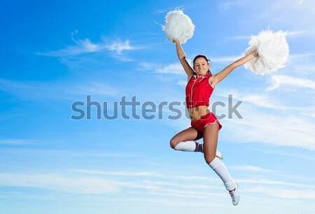 Pompomlány lány kék ég divat ugrás szín Stock fotó © adam121