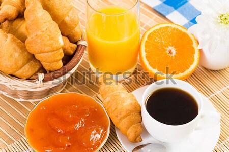 Континентальный завтрак кофе клубника круассан сока фрукты Сток-фото © adam121