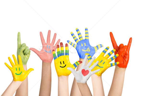 Boyalı eller farklı renkler okul çocuk Stok fotoğraf © adam121