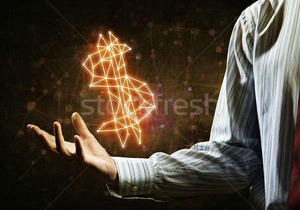 Dollár valuta szimbólum zárt üzletember kéz Stock fotó © adam121