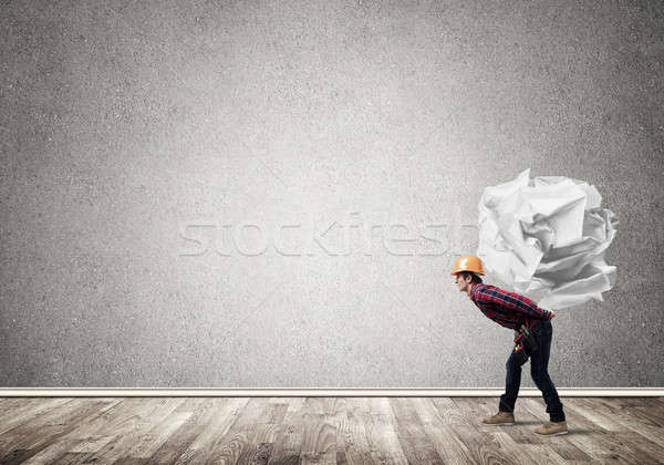Stockfoto: Ingenieur · man · laden · bouwer