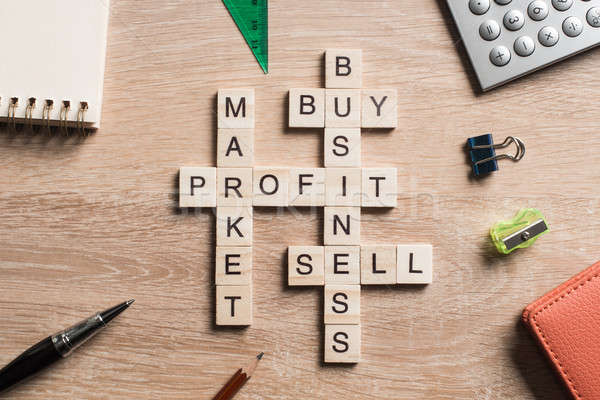 Business tabel communie spel kruiswoordraadsel Stockfoto © adam121