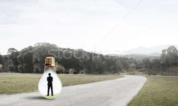 Geschäftsmann innerhalb Glühlampe jungen gefangen Landschaft Stock foto © adam121