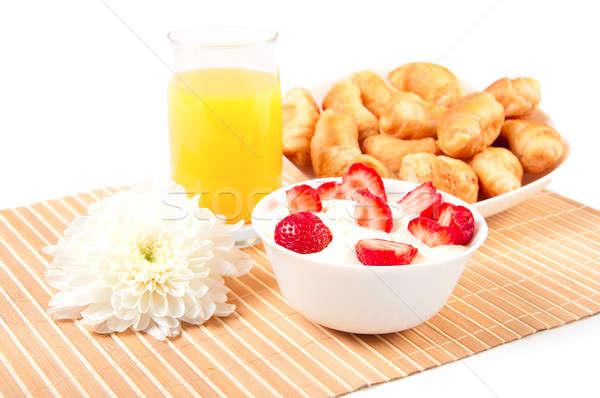 Breakfast with berries,orange juice and croissant Stock photo © adam121