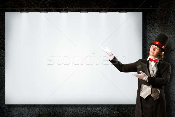 Bűvész felső kalap nyakkendő pontok szalag Stock fotó © adam121