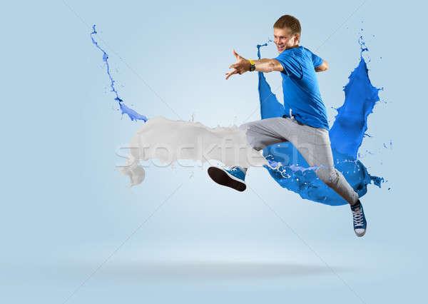 Stok fotoğraf: Genç · erkek · dansçı · atlama · sıçrama · boya