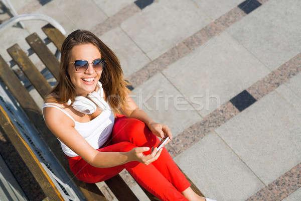 Verano fin de semana aire libre superior vista jóvenes Foto stock © adam121