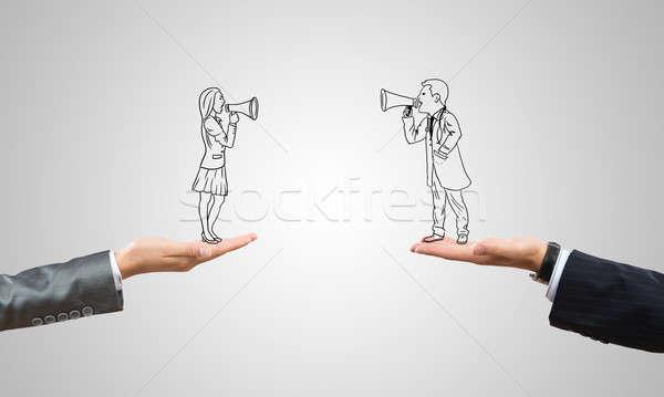 Biznesmen kobieta interesu ludzi palmy Zdjęcia stock © adam121