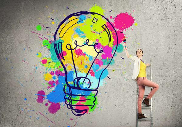 Több kreatív ötletek fiatal nő lezser rajz Stock fotó © adam121