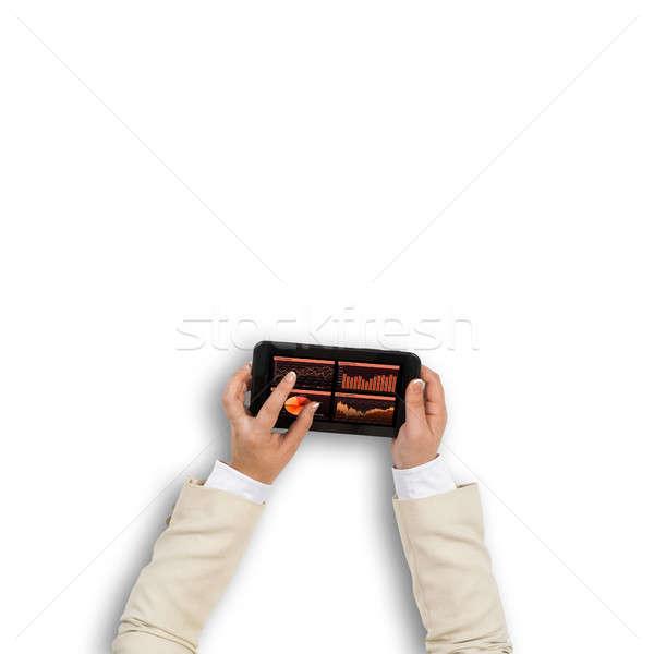 Pénzügyi alkalmazás felső kilátás üzletasszony kezek Stock fotó © adam121