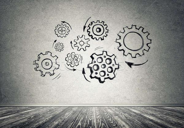 Сток-фото: Gear · механизм · команде · рисованной · серый · стены