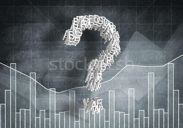 Kérdés pénzügyi növekedés nagy kérdőjel grafikonok Stock fotó © adam121