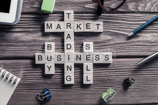 Business tabel communie spel maki woorden Stockfoto © adam121