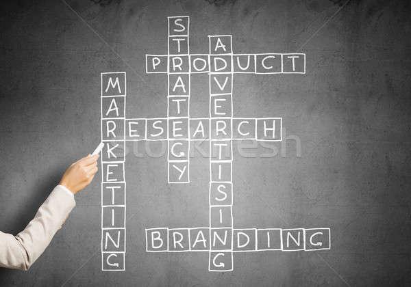 Frau ziehen Kreuzworträtsel Business gezeichnet Tafel Stock foto © adam121