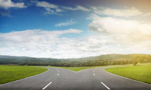 Aszfalt útkereszteződés kép természetes tájkép út Stock fotó © adam121