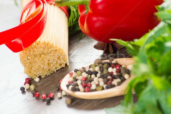 Сток-фото: итальянский · спагетти · овощей · пасты · специи