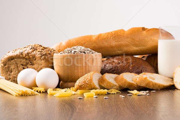 Friss kenyér tojások üveg tej magvak Stock fotó © adam121
