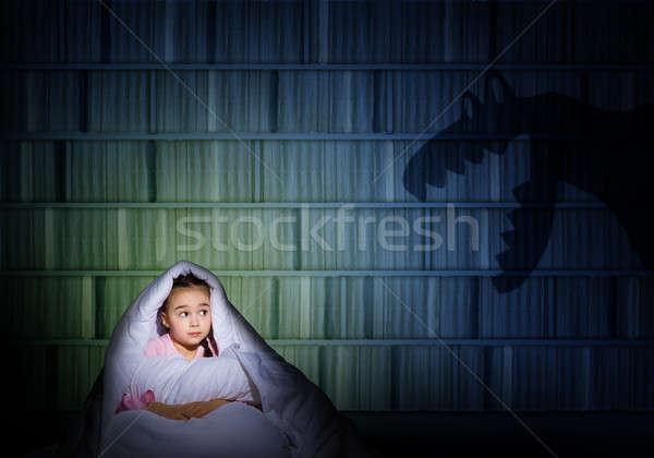 girl under the covers with a flashlight Stock photo © adam121