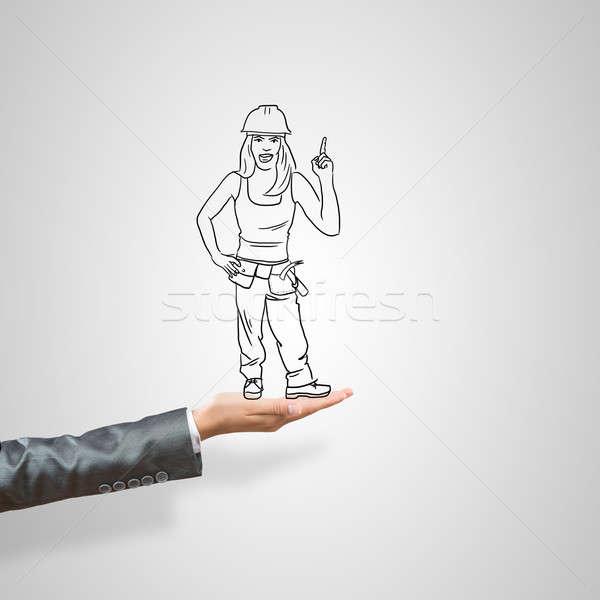 üzletasszony pálma rajzolt női szürke építkezés Stock fotó © adam121