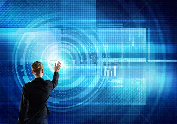 Stock fotó: Modern · technológiák · hátsó · nézet · üzletasszony · dolgozik · virtuális