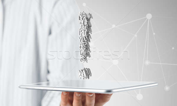 Exclamation mark and tablet Stock photo © adam121