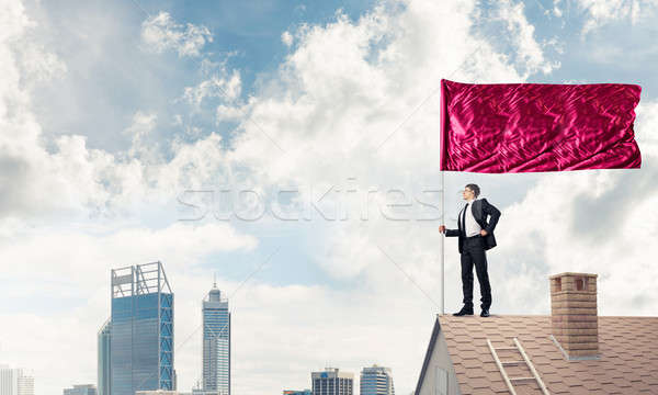 Young businessman with flag presenting concept of leadership. Mi Stock photo © adam121