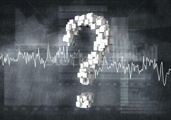 Stockfoto: Vraag · financiële · groei · groot · vraagteken · grafieken