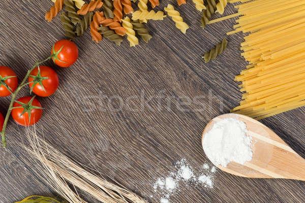 Pasta pomodori farina cucchiaio alimentare ingredienti Foto d'archivio © adam121