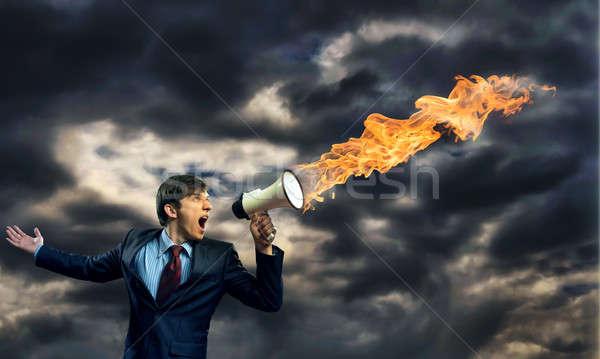 Affaires mégaphone agression affaires orateur Photo stock © adam121