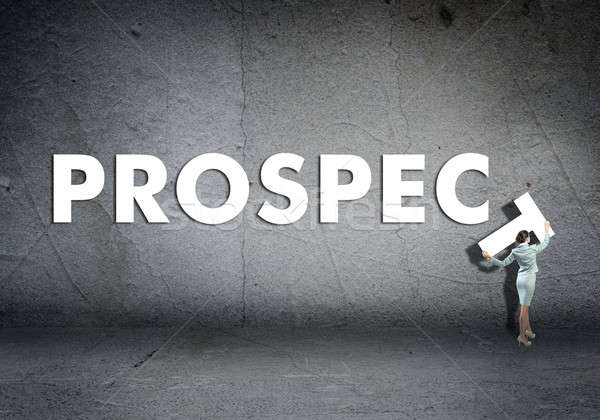 young businesswoman adds prospect word Stock photo © adam121