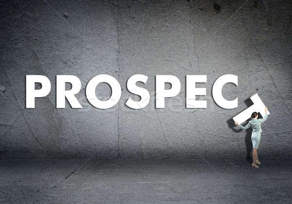 Jonge zakenvrouw vooruitzicht woord beton muur Stockfoto © adam121