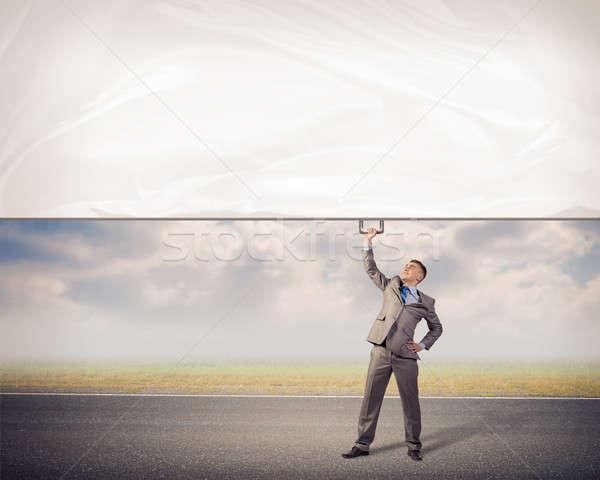Foto stock: Empresario · banner · uno · mano · imagen