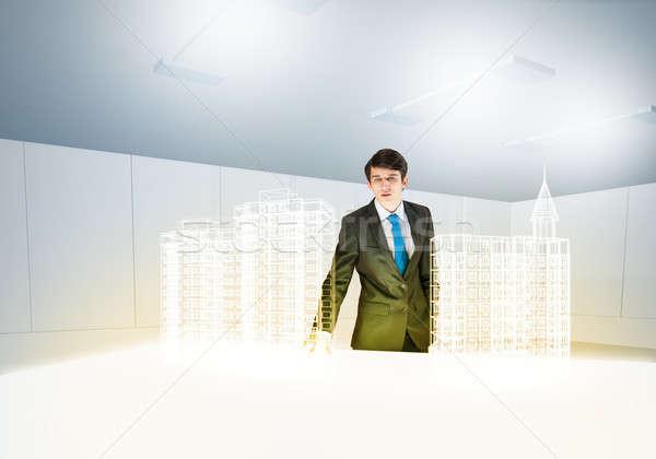 человека архитектора молодые бизнесмен цифровой модель Сток-фото © adam121