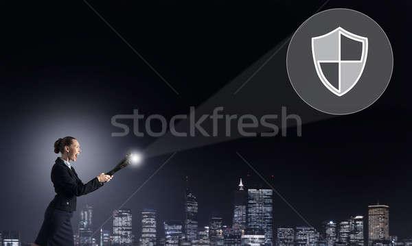 Woman with lantern in hand Stock photo © adam121