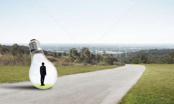 Businessman inside light bulb Stock photo © adam121