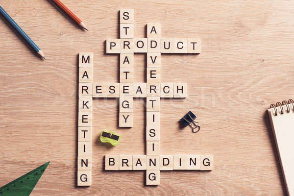Conceptual business keywords on table with elements of game maki Stock photo © adam121