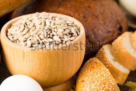 Friss kenyér tojások magvak szakács otthon Stock fotó © adam121
