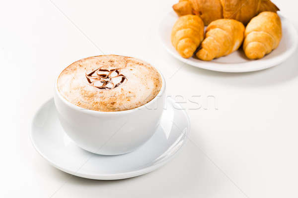 large cup of coffee and croissants on a plate Stock photo © adam121