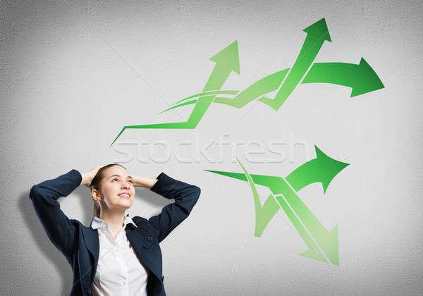Zakenvrouw denken iets nadenkend pijl gedachten Stockfoto © adam121