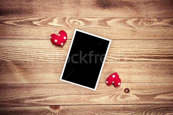 ír szeretet üzenet fényképkeret jegyzettömb fa asztal Stock fotó © adam121