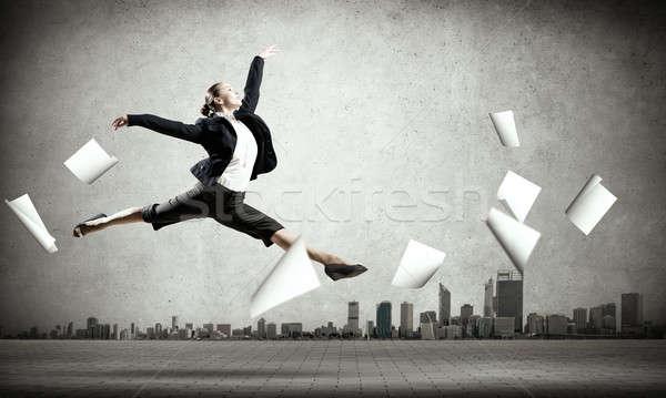 Dancing businesswoman Stock photo © adam121