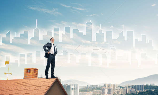 Senhor patrão tijolo telhado brasão misto Foto stock © adam121