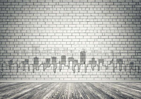 Cidade projeto parede silhueta moderno paisagem Foto stock © adam121
