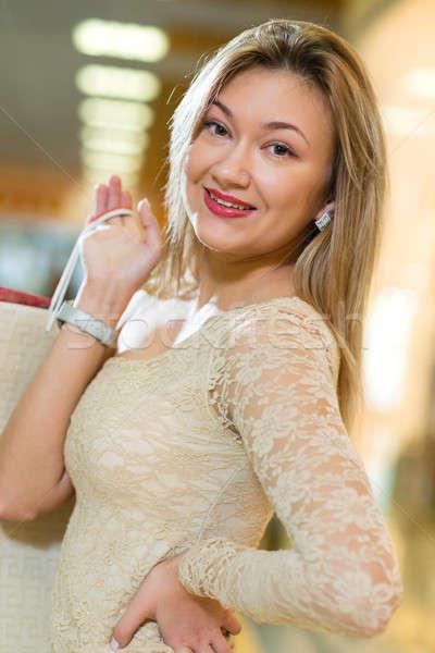 Portré nő vásárlás központ mosolyog néz Stock fotó © adam121