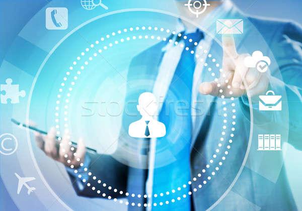 Man werken virtueel paneel zakenman Stockfoto © adam121