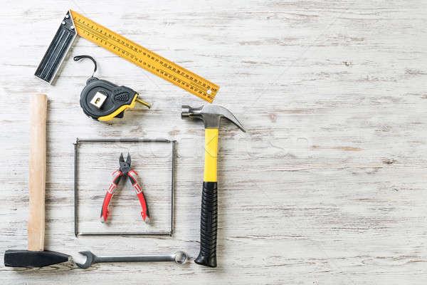 деревянный стол разнообразие ремонта инструменты поверхность Сток-фото © adam121