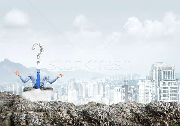 Stockfoto: Ontspannen · vinden · oplossing · zakenman · vergadering · lotus