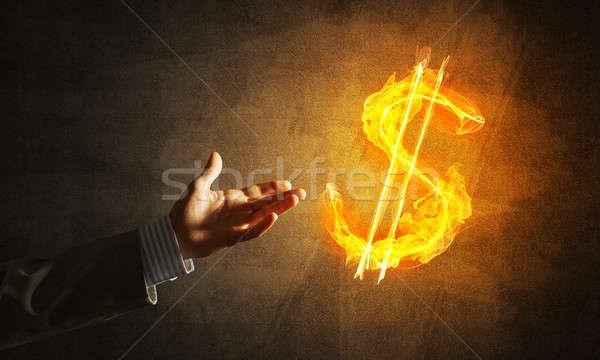 Foto stock: Dinheiro · dólar · moeda · fogo · símbolo