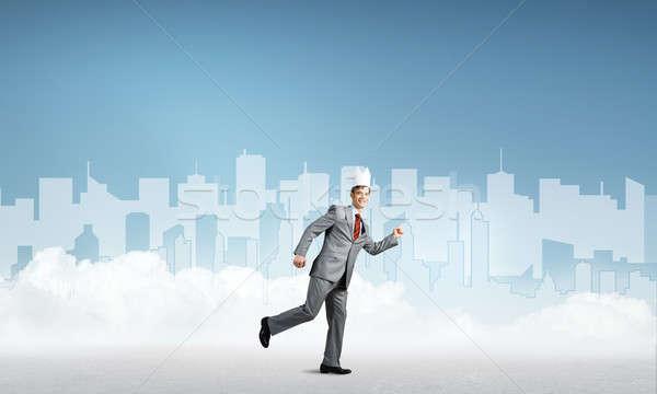 Rei empresário elegante terno corrida azul Foto stock © adam121