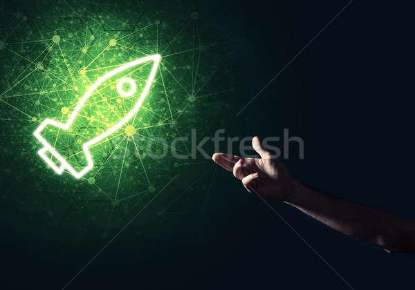 Man palm presenteren raket web icon technologie Stockfoto © adam121